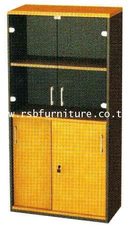 ตู้เอกสาร 4 ชั้น 2 ชั้นบนบานเปิดกระจก 2 ชั้นล่างบานเลื่อนทึบ ขนาด 80 x 40 สูง 160 cm รหัส 2105