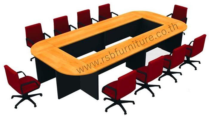 โต๊ะประชุม ตัวต่อรูปตัวO ขาไม้ 10 ที่นั่ง เมลามีนเกรด A ขนาด 420 X 200 CM รหัส 2137