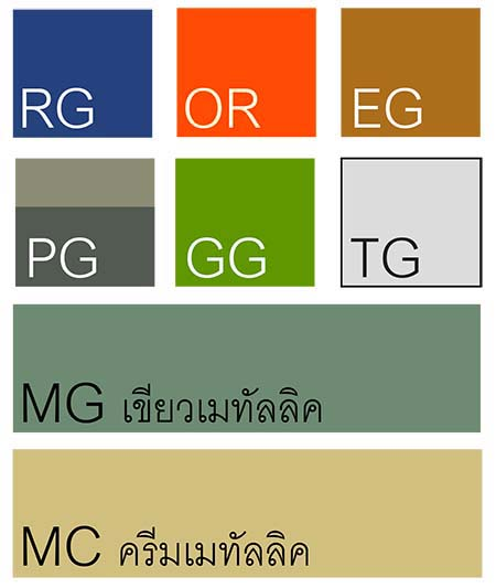 ตัวอย่างสีเหล็ก สำหรับ L W