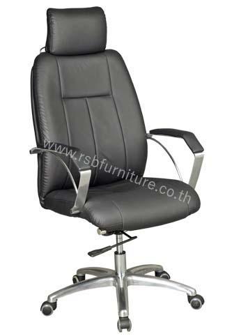 เก้าอี้ผู้บริหารหนังสีดำ+หมอนรองศรีษะ ที่ท้าวแขนอะลูมิเนียม รหัส 2166