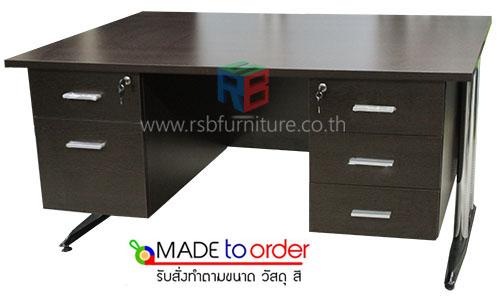 โต๊ะทำงาน ขาเหล็กปั๊มเงา 5 ลิ้นชัก ซ้าย-ขวา พร้อมชุดกุญแจ มีขนาด W.150 / 180 / 200 CM รหัส 1276