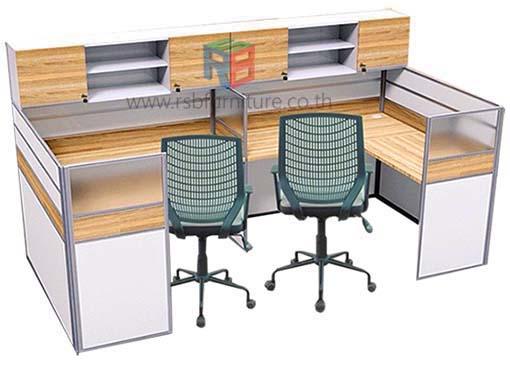 โต๊ะทำงานกลุ่ม 2 ที่นั่ง 306 x 154 cm+ตู้เอกสารบน เมลามีนสีพิเศษ รหัส 2312