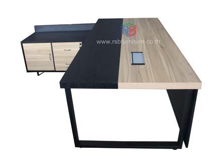 โต๊ะผู้บริหาร + ตู้ไซด์บอร์ดข้าง รหัส 2431 2