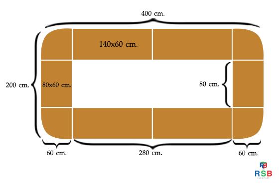 โต๊ะประชุมตัวต่อ เมลามีนเกรด A ทั้งตัว 14 ที่นั่ง ขนาด 400 X 200 CM รหัส 2030 1