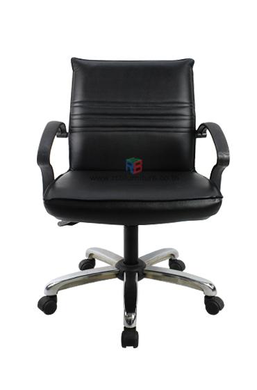 เก้าอี้สำนักงาน พนักพิงหนัง เสริมขาเหล็กตันรุ่นพิเศษ เกรด A  *รุ่นประหยัด* รหัส 2208