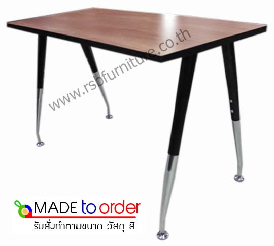 โต๊ะทำงาน ขาเหล็กตัว V โล่ง พ่นสีดำ ขนาด W120/150/180 CM รหัส 1414