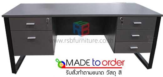 โต๊ะทำงาน ขาเหล็กตัว C พ่นสีดำ ลิ้นชักซ้าย - ขวา ขนาด W.150 / 180 cm. รหัส 1422