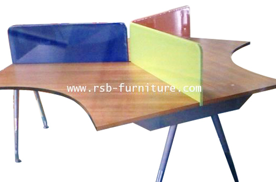 โต๊ะทำงานกลุ่ม 3 ที่นั่ง โต๊ะทำงาน ขาเหล็กปลายเรียวชุบโครเมี่ยม 240 CM รหัส 1216