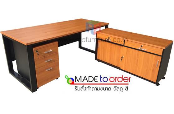 โต๊ะทำงานผู้บริหาร ไซด์บอร์ดข้าง ขาเหล็กหนา 3 นิ้ว ขนาด W180XD120 CM รหัส 2720