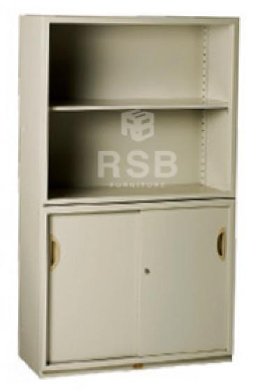 ตู้เอกสารเหล็ก ยี่ห้อ LUCKY ตู้โล่งบน + ล่างบานเลื่อน 2 บาน ขนาด 90 x 40 สูง 155 cm รหัส 3279