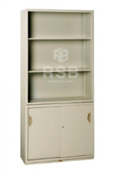 ตู้เอกสารเหล็ก ยี่ห้อ LUCKY ตู้โล่งบน + ล่างบานเลื่อน 2 บาน ขนาด 90 x 40 สูง 195 cm รหัส 3280