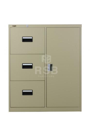 ตู้ลิ้นชักเหล็ก ยี่ห้อ LUCKY แบบ 3 ลิ้นชัก + บานเปิด 1 บาน ขนาด 90 x 45 สูง 110 cm รหัส 3301