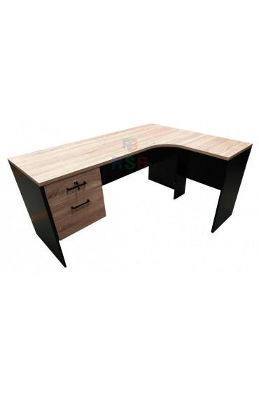 โต๊ะทำงานเข้ามุม ตัวแอล ขาไม้ มีลิ้นชัก ขนาด 160 x 120 cm  รหัส 3346