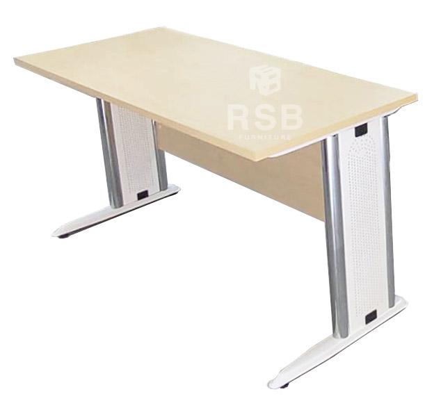 โต๊ะทำงาน ขาเหล็กปั๊มเงา แบบโล่งมีบังหน้า ขนาด 80 / 120 / 150 / 180 / 240 CM รหัส 1042