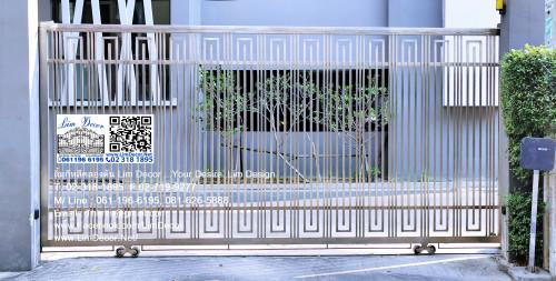 LD-A022 ประตูรั้วรีโมทสเตนเลสบานเลื่อน Sliding Stainless Steel Gate Automatic Remote Control