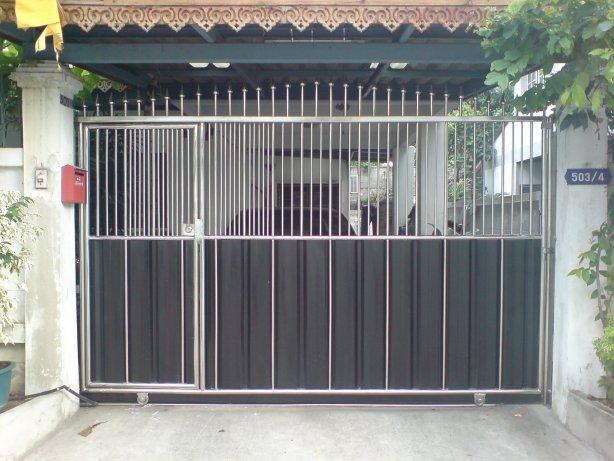 LD-A008 ประตูรั้วสเตนเลสบานสวิง (ปิด-เปิด) Swing Stainless Steel with Alu-Zinc Plate Gate
