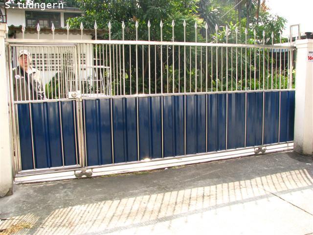 LD-A055 ประตูรั้วสแตนเลส+แผ่นอลูซิ้งค์บานเลื่อน Stainless Steel with Alu-Zinc Sliding Gate