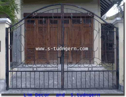 LD-A082 ประตูรั้วเหล็กดัดอิตาลีบานสวิง Swing Wrought Iron Steel Gate 2