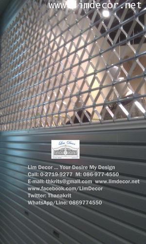 DIY ประตูม้วนเหล็กลอนเดี่ยวเคลือบสีเทาบานทึบ Single Curve Metal Steel Shutter Gate 2
