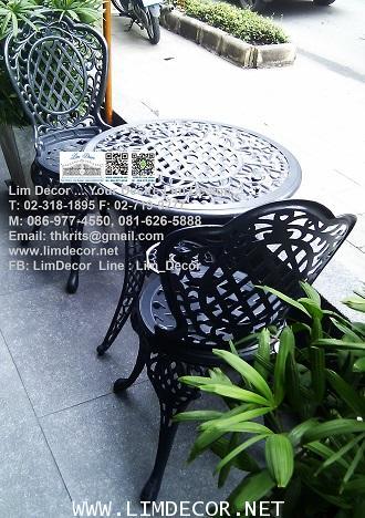 LD-E06 โซฟาร์อัลลอย-ไม้ ม้านั่งอัลลอยไม้ (Alloy Steel Bench with Wood) 3