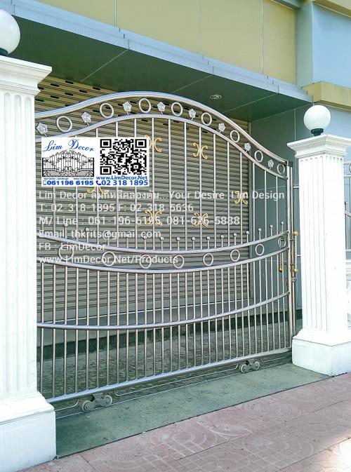 LD-A021 ประตูรั้วรีโมทสเตนเลสบานเลื่อน Sliding Stainless Steel Gate+Automatic Remote Contol