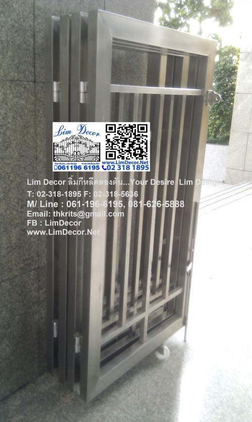 DIY ประตูม้วนเหล็กลอนเดี่ยวเคลือบสีเทาบานทึบ Single Curve Metal Steel Shutter Gate 4