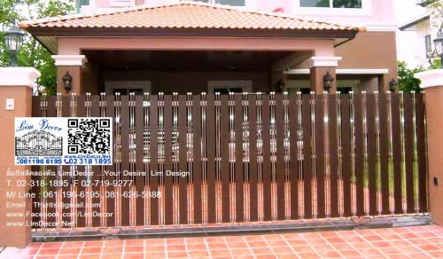 LD-A174 ประตูรั้วรีโมทสแตนเลสไม้ฝาเชอร่า Stainless Steel+Shera Wood Gate+AutomaticRemoteControl 1