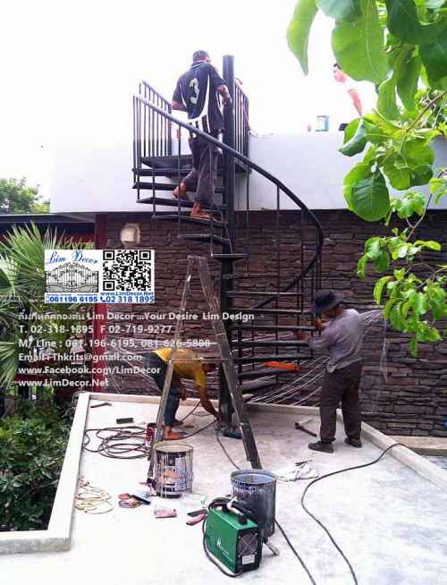 LD-B712 บันไดวนเหล็กหมู่บ้านโมดิวิลล่า บางนา Metal Spiral Staircase/Railing @ Modi Villa Bangna 3