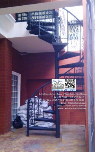 LD-B428  บันไดวนเหล็กพื้นเหล็กภายนอกอาคารขึ้นระเบียง สไตล์ Antique Design Outdoor Metal Spiral Stair