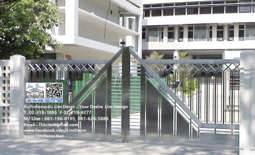 LD-A021ประตูรั้วรีโมทสเเตนเลสบานสวิง Swing Stainless Steel Gate Automatic Remote Control