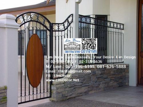 LD-A026 ประตูรั้วสเตนเลส+ไม้ฝาเชอรา Stainless Steel with Shera Wood Gate 1