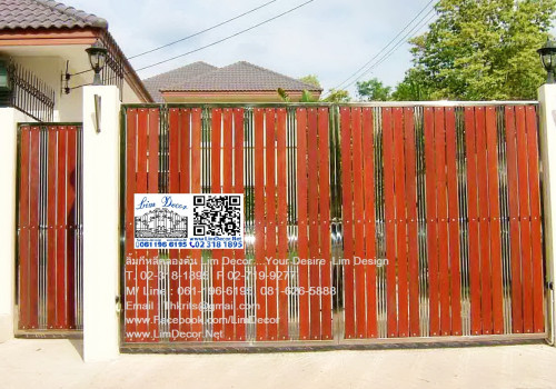 LD-A008 ประตูรั้วสเตนเลสบานสวิง (ปิด-เปิด) Swing Stainless Steel with Alu-Zinc Plate Gate 2