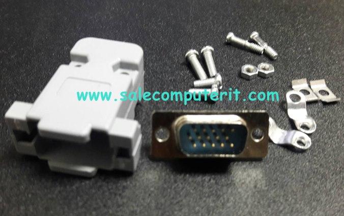 ฝาครอบพลาสติด+ VGA 15 Pins (ตัวเมีย) พร้อม น๊อต ครบชุด