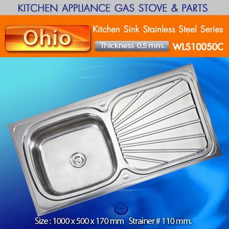 ซิ้งค์ล้างจานสแตนเลสแบบฝังเคาน์เตอร์ ยี่ห้อโอไฮโอ้ รุ่น WLS10050C