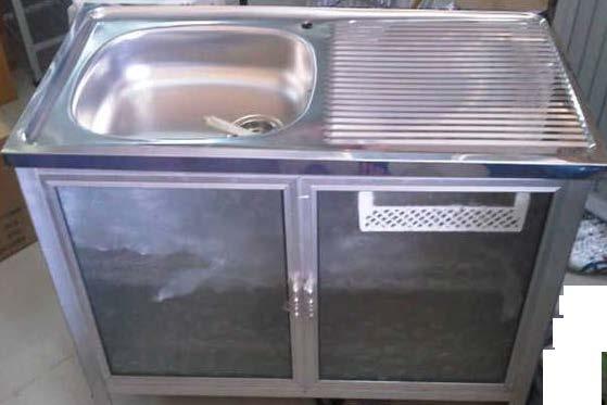 ซิ้งค์ล้างจานหน้าสแตนเลส มีตู้เก็บของ ขนาด 1 เมตร ยี่ห้อซันชายน์