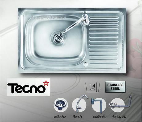 ซิ้งล้างจานแบบฝัง (เทคโน) TECNO 1 หลุม มีที่พักข้าง ขนาด 75/45 เซนติเมตร แถมก๊อกน้ำ