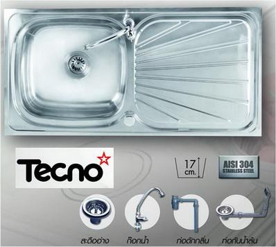 ซิ้งล้างจานแบบฝัง (เทคโน) TECNO 1 หลุม มีที่พักข้าง ขนาด 100/50 เซนติเมตร แถมก๊อกน้ำ