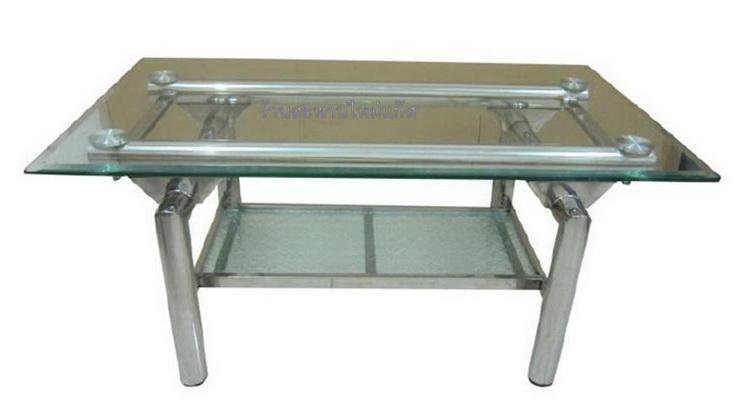 โต๊ะสแตนเลสหน้ากระจก โต๊ะกลางรับแขก ขนาดยาว 1 เมตร