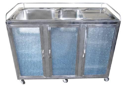 ตู้ซิ้งค์ล้างจาน 2 หลุม สแตนเลสทั้งตัว แบบชั้นตระกร้า