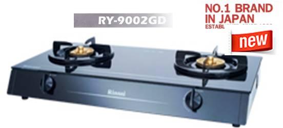 เตาแก๊สกระจก 2 หัว หัวเตาทองเหลือง RINNAI(รินไน) รุ่น RY-9002GD