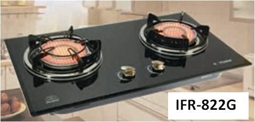 เตาแก๊สอินฟาเรดกระจกดำหัวคู่ รุ่น IFR-822G