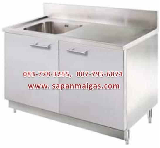 ซิ้งค์ล้างจานอุตสาหกรรม  1 หลุม มีทีพัก แบบตู้