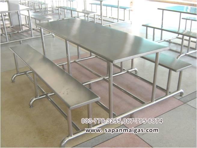 โต๊สแตนเลส พร้อมเก้าอี (โต๊ะโรงอาหาร)