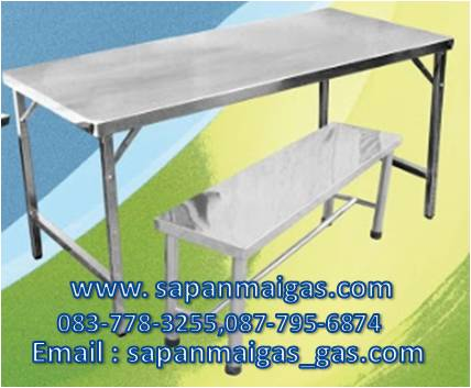 โต๊ะสแตนเลสขาสวิง 150 ซม. + เก้าอี้2 ตัว