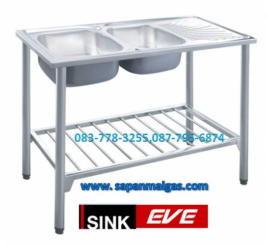 ซิ้งค์ล้างจาน 2 หลุมพร้อมขาตั้ง ขนาด 120 ซม.  ยี่ห้อ eve รุ่น ALPHA