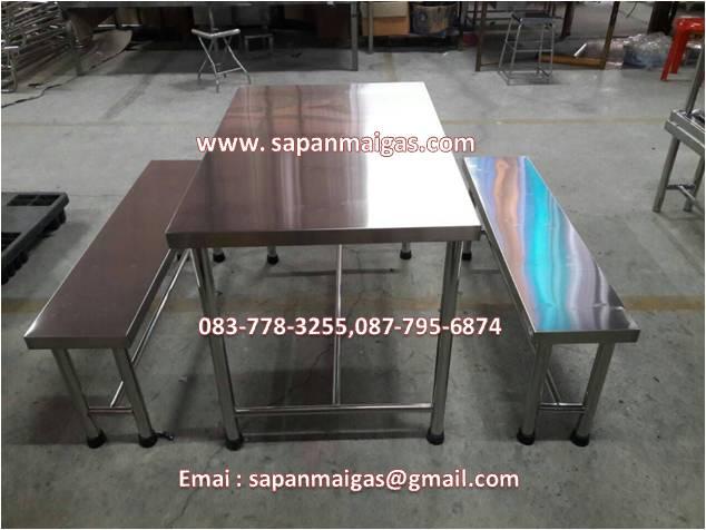 โต๊ะสแตนเลส พร้อมเก้าอี ขนาด110 ซม.