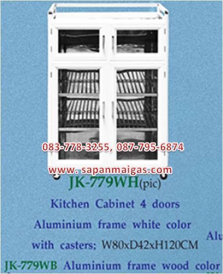 ตู้กับข้าวชั้นสแตนเลส กว้าง 80 สูง120 ซม  บานประตูอลูมิเนียม