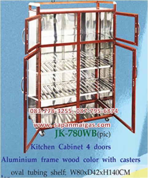 ตู้กับข้าวชั้นสแตนเลส กว้าง 80 สูง140 ซม  บานประตูอลูมิเนียม
