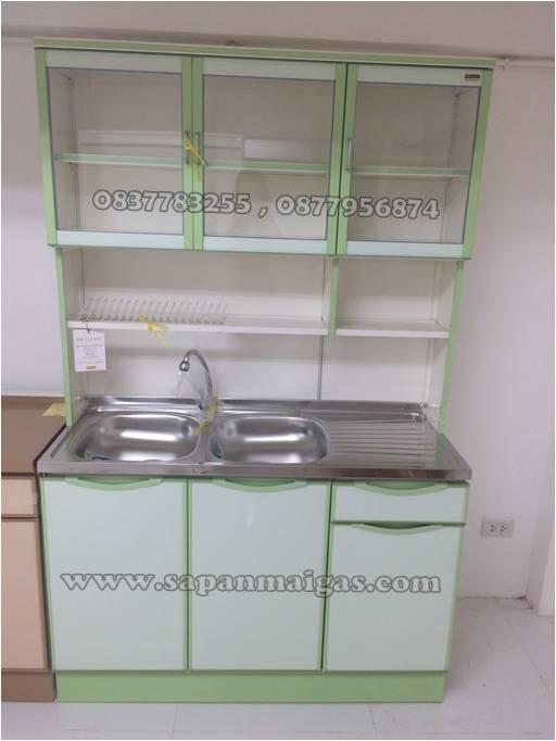 ตู้ครัวอ่าง2หลุม ทรงสูง ขนาด 1.20เมตร  ประตูบานเรียบ รุ่น LS120