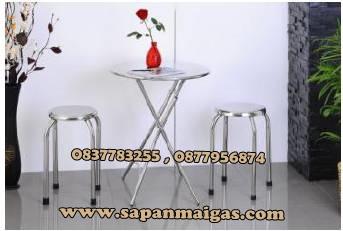 โต๊ะพับสเตนเลสแบบกลม 59 ซม.+เก้าอี้ 2 ตัว